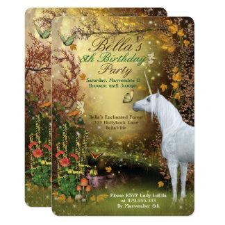 Unicorn-Fantasie-Waldgeburtstags-Party 12,7 X 17,8 Cm Einladungskarte