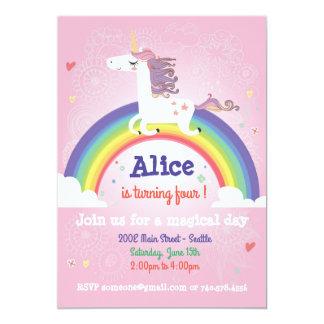 Unicorn-Geburtstags-Einladung - Regenbogen-Party Karte