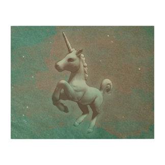 Unicorn-hölzerne Wand-Kunst 14x11 (aquamariner Holzleinwand