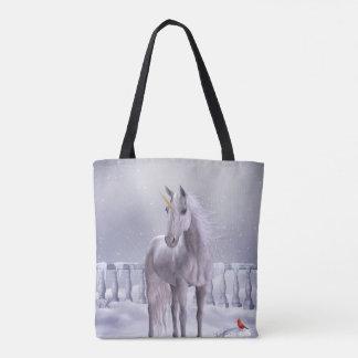 Unicorn im Schnee ganz vorbei - drucken Sie Tasche