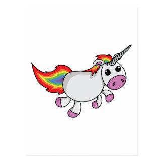 Unicorn mit der Regenbogen-Mähne und dem Schwanz Postkarte