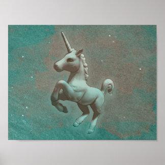 Unicorn-Plakat-Kunst-Druck 11x8.5 (aquamariner Poster