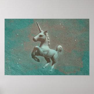 Unicorn-Plakat-Kunst-Druck 16.5x11 (aquamariner Poster