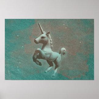 Unicorn-Plakat-Kunst-Druck 19x13 (aquamariner Poster