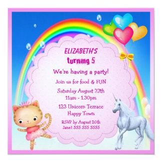 Unicorn, Prinzessin Kitty u. Regenbogen-Party lädt Quadratische 13,3 Cm Einladungskarte