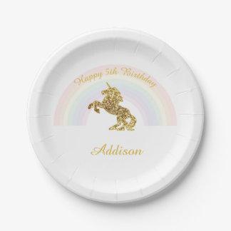 Unicorn-Teller für Geburtstage Pappteller