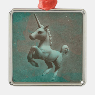 Unicorn-Verzierung - quadratische Prämie Silbernes Ornament