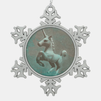 Unicorn-Verzierung - Schneeflocke (aquamariner Schneeflocken Zinn-Ornament