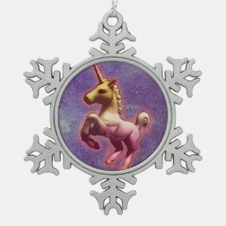Unicorn-Verzierung - Schneeflocke (lila Nebel) Schneeflocken Zinn-Ornament
