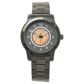 Unisexmonogramm-Basketball-Uhr-Schwarz-Armband Uhr