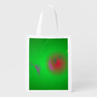 Univers vert et un soleil rouge sac d'épicerie