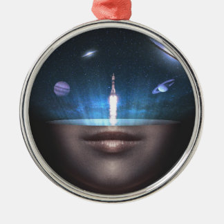 Universum im Verstand Rundes Silberfarbenes Ornament