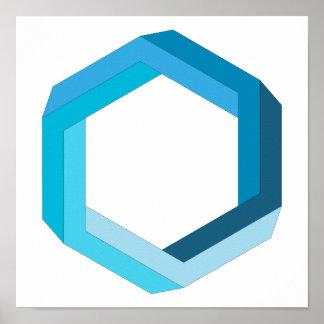 Unmögliche Geometrie: Blaues Hexagon Poster