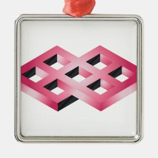Unmögliche rosa Geometrie Silbernes Ornament