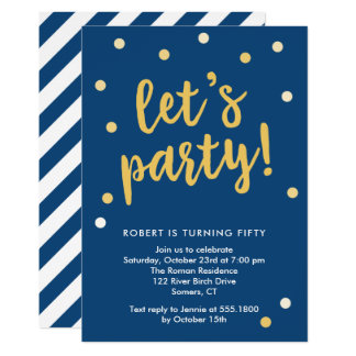 Uns gelassen PartyConfetti, Blau und Goldeinladung 12,7 X 17,8 Cm Einladungskarte