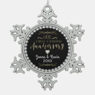 Unser erster Hochzeitstag Schneeflocken Zinn-Ornament