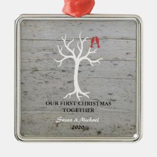 Unser erster Weihnachtszusammen Liebe-Vogelbaum Silbernes Ornament