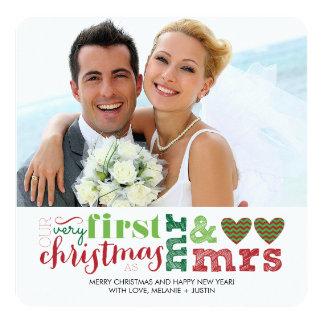 Unser erstes Weihnachten als Herr u. Frau Holiday Quadratische 13,3 Cm Einladungskarte