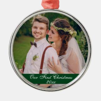 Unser erstes Weihnachten, das erstklassige Silbernes Ornament