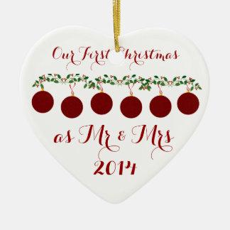 Unser erstes Weihnachten zusammen Keramik Herz-Ornament