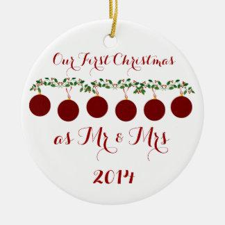Unser erstes Weihnachten zusammen Rundes Keramik Ornament