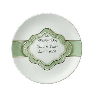 Unser Hochzeitstag (Grün) Porzellanteller