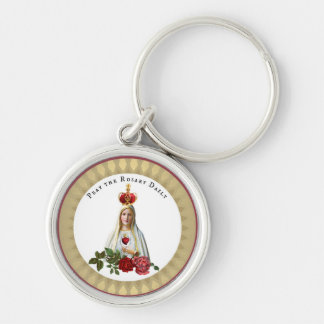 Unsere Dame der Fatima-Rosen-Rosenbeet-Krone Schlüsselanhänger
