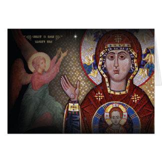 Unsere Dame der Zeichen-orthodoxen Weihnachtskarte Karte