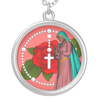 Unsere Dame des Rosenbeetes Versilberte Kette