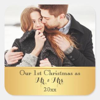Unsere erste Weihnachtszusammen Gewohnheit Quadratischer Aufkleber