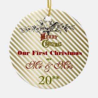 Unsere erste Weihnachtszusammen Retro Verzierung Keramik Ornament