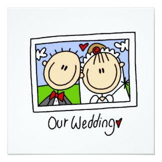 Unsere Hochzeits-Braut und Bräutigam-T - Shirts Quadratische 13,3 Cm Einladungskarte