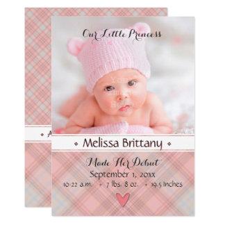 Unsere kleine Geburts-Mitteilung Prinzessin-Baby Karte