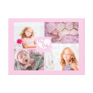 Unsere Mädchen-rosa Foto-Collage eingewickelte Leinwanddruck
