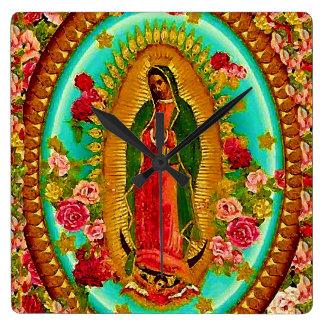 Unsere mexikanische Heilig-Jungfrau Mary Quadratische Wanduhr