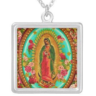 Unsere mexikanische Heilig-Jungfrau Mary Versilberte Kette