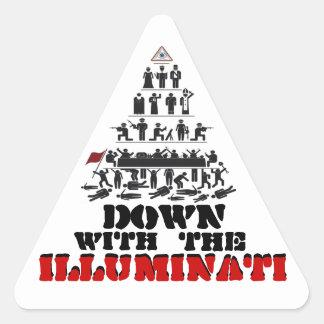 Unten mit den Illuminati Aufklebern Dreieckiger Aufkleber