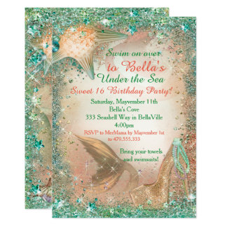 Unter den Seemeerjungfrau-Geburtstags-Einladungen Karte