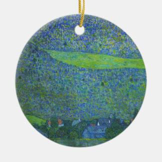 Unterach bei Attersee durch Klimt, Vintage Kunst Rundes Keramik Ornament