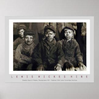 Unterbrecher-Jungen durch Lewis Wickes Hine Poster