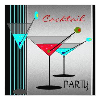 Unternehmenscocktail-Party trinkt blaues Rot Quadratische 13,3 Cm Einladungskarte
