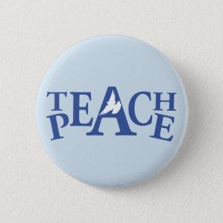Unterrichten Sie FriedensSingle weißes Runder Button 5,1 Cm