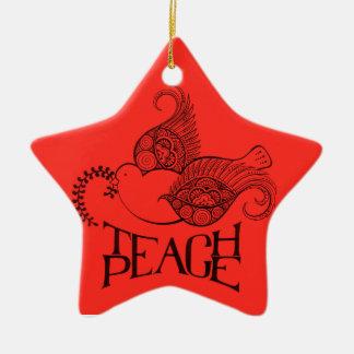 Unterrichten Sie Friedensweihnachtsverzierung Keramik Ornament