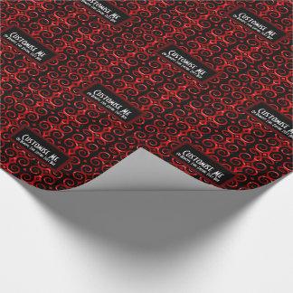 Unterscheidender schwarzer Wirbel (rot) Geschenkpapier