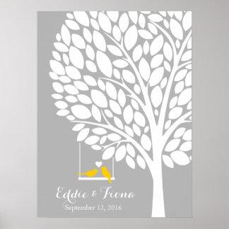 Unterschriftenhochzeits-Gastbuch-Baumvogelgelb Poster