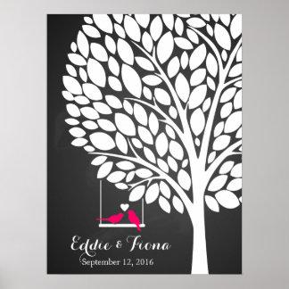 Unterschriftenhochzeits-Gastbuch-Baumvogelrosa Poster