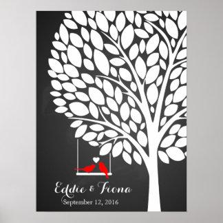 Unterschriftenhochzeits-Gastbuch-Baumvogelrot Poster