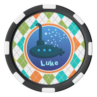 Unterseeboot auf buntem Rauten-Muster Poker Chips Set