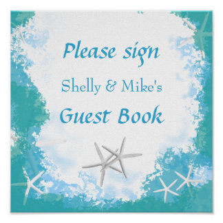 Unterseeische Sterne, die Tabellen-Gast-Buch-Zeich Poster
