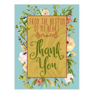 Unterseite meines Blumen Herzens danken Ihnen Postkarte